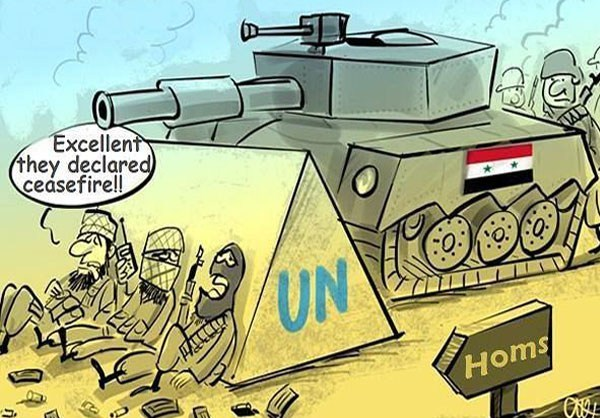 Photo of Caricature- Ceasefire in Syria's Homs
