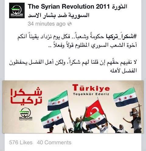 Photo of A thank- you note for Turkey by Al- Qaeda terrorists after downing Syrian Jet intentionally