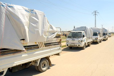 Photo of Humanitarian aid distributed among families in Aleppo