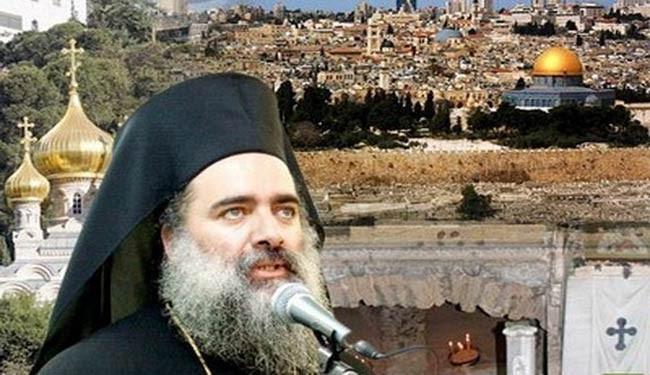 Photo of Palestinian archbishop likens Syria terrorists to zionist Israel