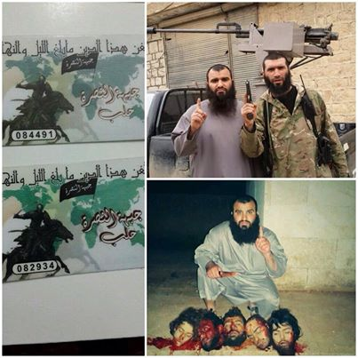 Photo of ISIS beheaded 3 criminal monster from al-Nusra, 2 from Ahrar north Syria