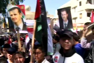 Photo of Residents of Haffa city in Lattakia march in support of Army