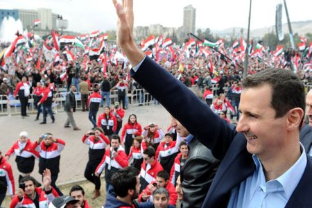 Photo of Telegraph: As Bombs Fall, People of Damascus Rally round Bashar Al-Assad