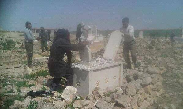 Photo of Americanized Mujaheeds in Syria demolishing tombs