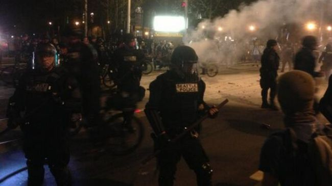 Photo of Police fire pepper spray in Seattle