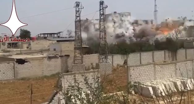 Photo of Footage of the bombing of a building full of terrorists in Al Asali in Damascus