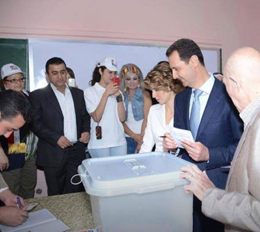 Assads voting for the presidential election.