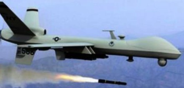 U.S. drone loaded with rockets flying over Baghdad