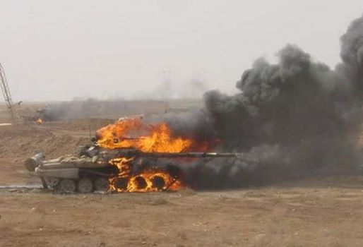 Israeli tank received a direct hit from a shell fired by the resistance of Gaza earlier today.