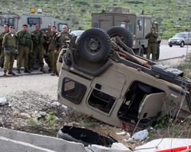 Photo of 3 occupation regime soldier injured in in West Banks Nablus in drum fired  jeep by Qassam Mujaheeds