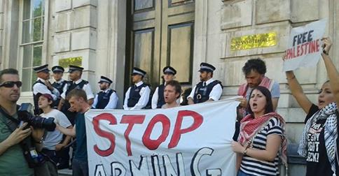 Photo of Activists occupy UK government building, demanding arms embargo on Israel