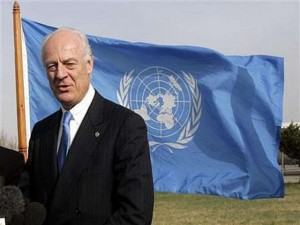 The new Special Representative of the United Nations for Afghanistan Staffan De Mistura talks to the media in Kabul
