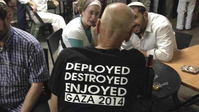 Photo of Rabid dog Israeli soldier wears 'enjoyed Gaza' T-shirt