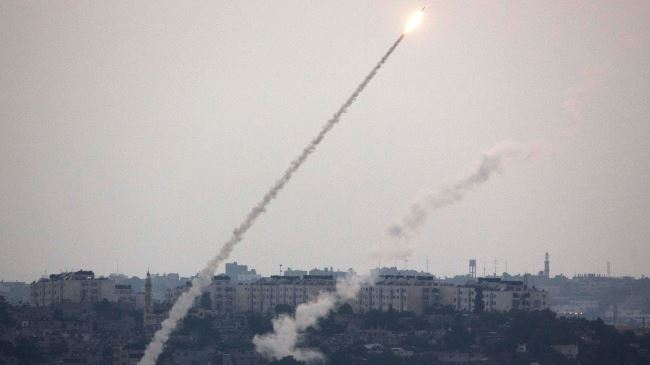 Photo of Hamas fires volley of rockets into Israel