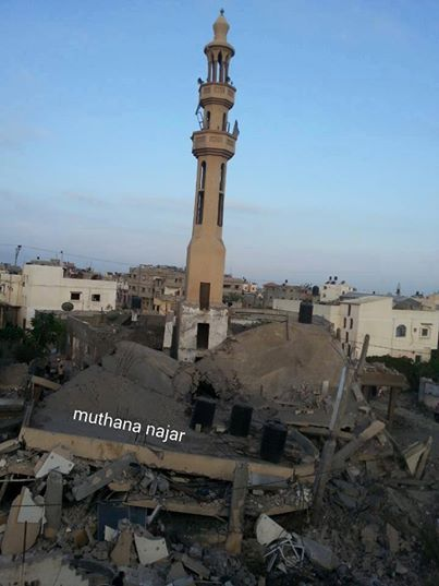 A mosque was bombed last night by Israeli occupation warplanes in Khan Younis.