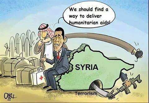 Photo of Caricature- We should find a way to dliver humanitarian aids!