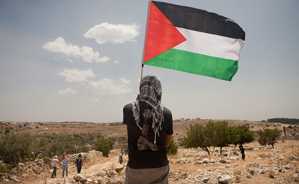 woman-holding-palestinian-flag