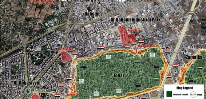 Battle Map of Jobar; Daily Updates from Damascus