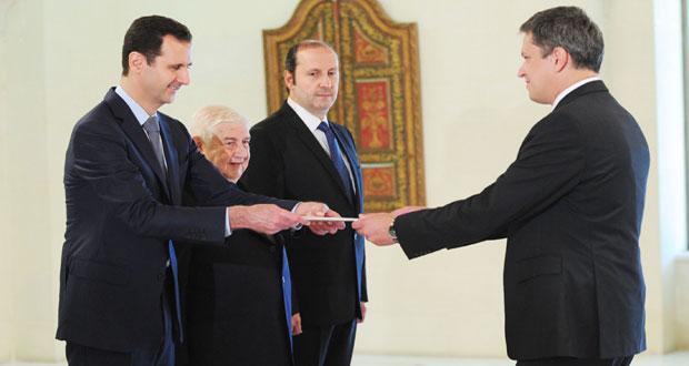 President al-Assad accepts credentials of new Belarus ambassador