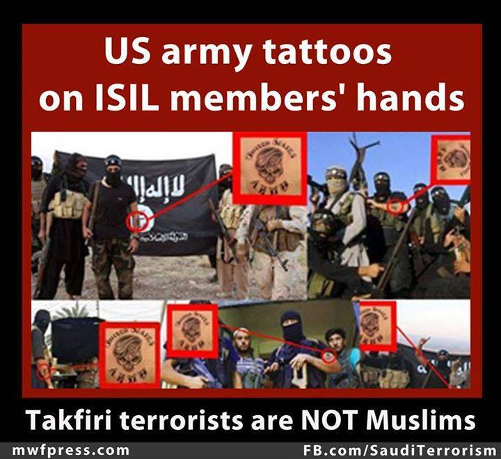 Photo of US army tattoos on #ISIL members' hands