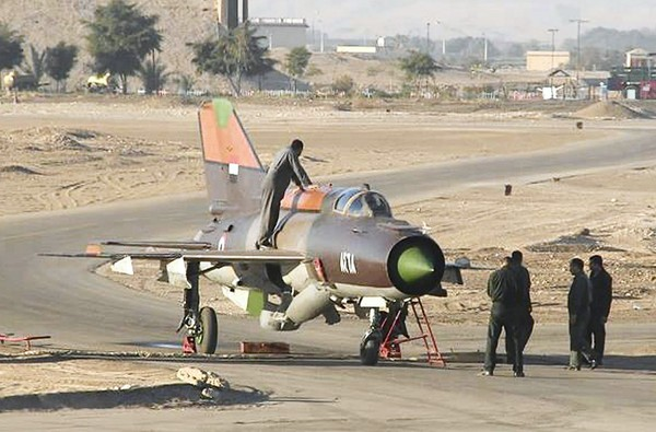 MiG-21 fighter jet of Syrian air force pilot who defected to Jordan.