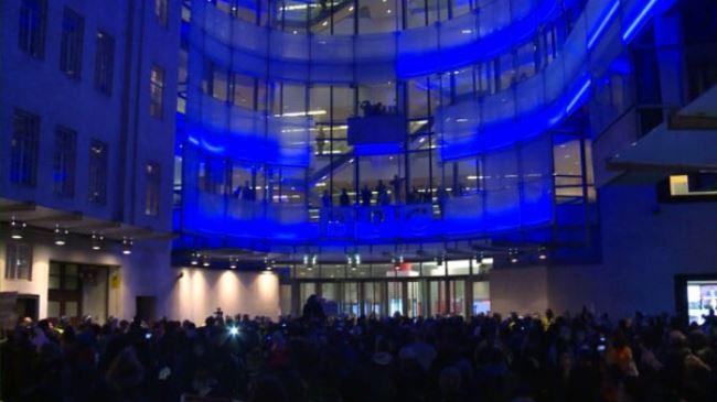 Photo of UK hacktivists gather at BBC headquarters