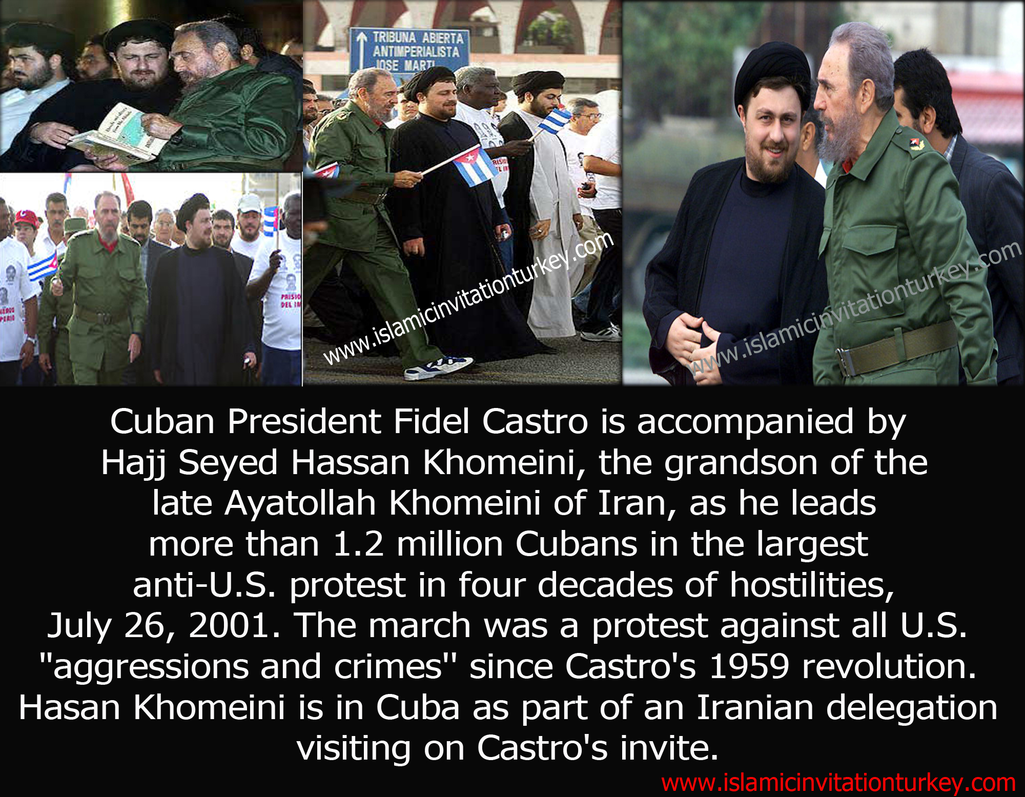 Photo of Cuban President Fidel Castro is accompanied by Hajj Seyed Hassan Khomeini, the grandson of the late Ayatollah Khomeini of Iran