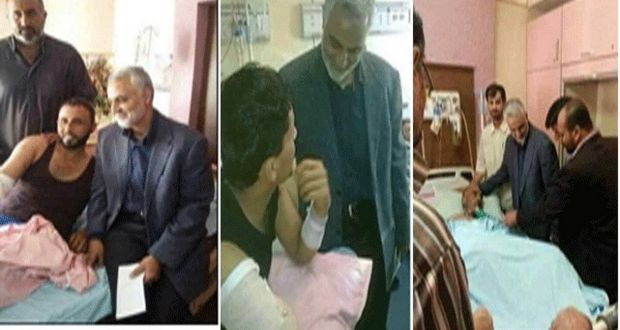 Photo of General Soleimani Visits Injured Iraqi Fighters in Hospital