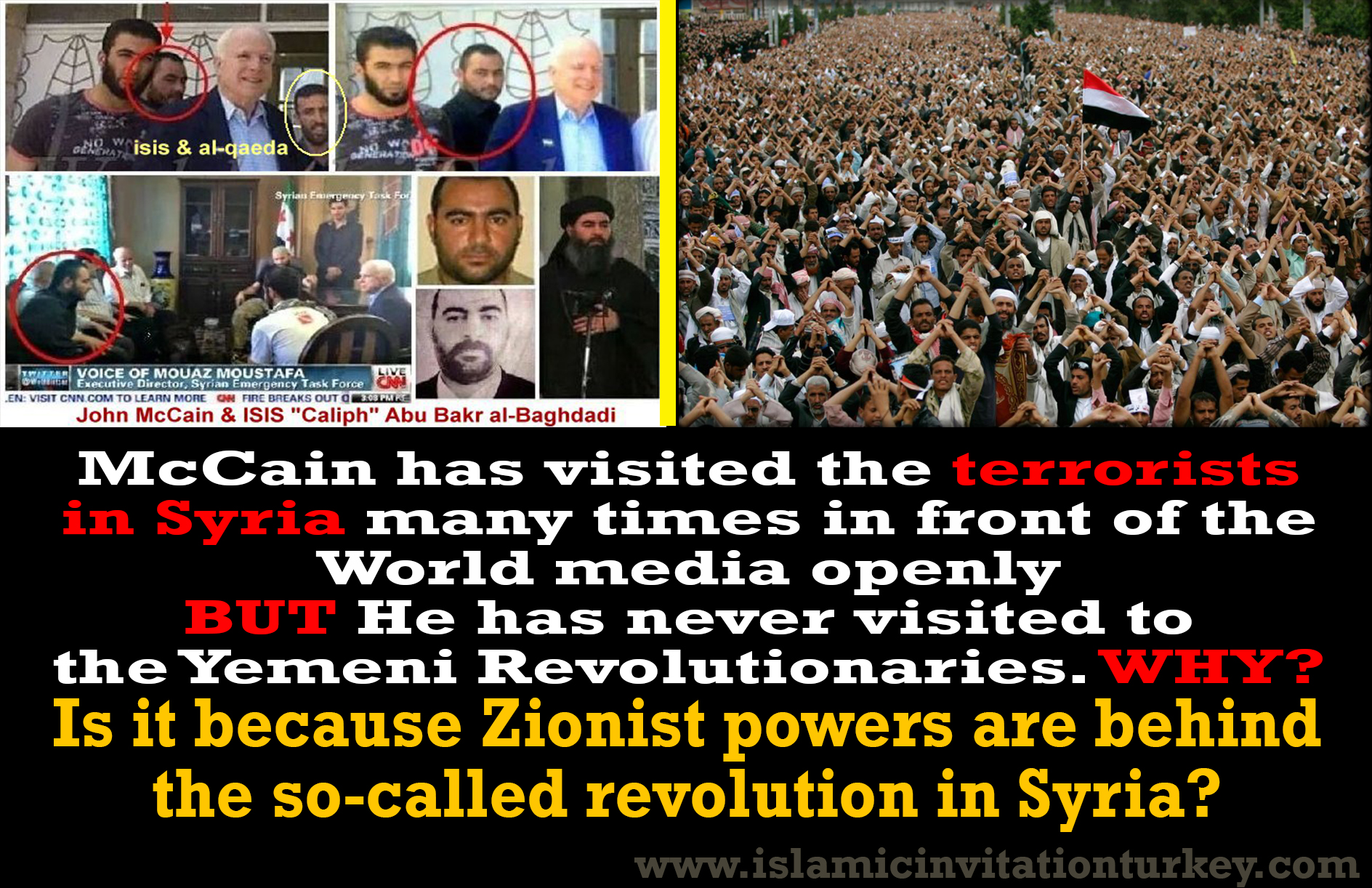 Photo of McCain visited terrorists in Syria many times but he hasn't visited Yemeni Revolutionaries. Why?