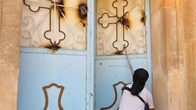 Photo of ISIL terrorists desecrated Christian church in Iraq's Mosul
