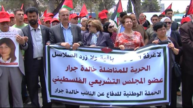 Photo of Palestinians march for release of Palestinian MPs from Israeli jails