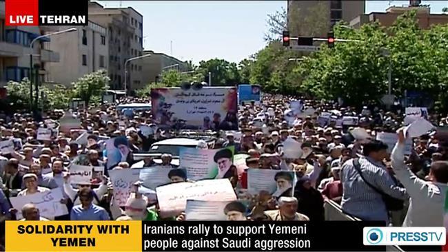 Photo of Iran demonstrators condemn Saudi aggression against Yemen