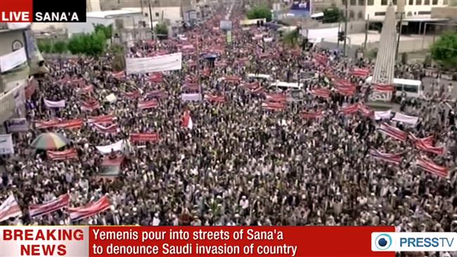 Photo of People in Yemen take to streets in capital, Sana'a, to slam Saudi aggression