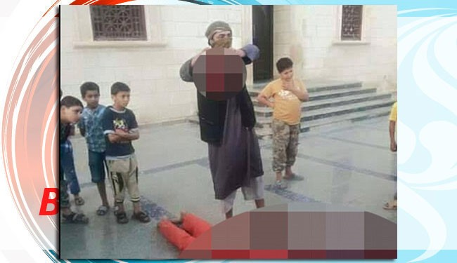 "Barbaric ""jihadis"" fighting for the ""Islamic State in Libya"" have brutally beheaded a government soldier outside a mosque while children no older than eight years old look on."