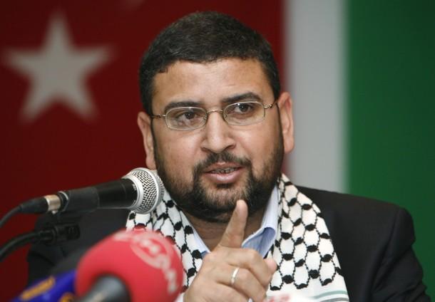 Sami Abu-Zuhri, a spokesman for the Islamist Palestinian movement Hamas, addresses a news conference in Istanbul January 17, 2009.  REUTERS/Osman Orsal   (TURKEY)