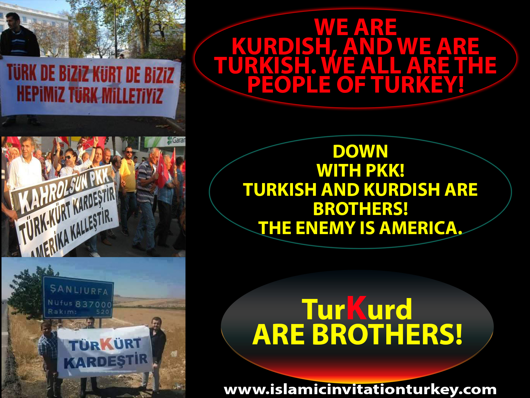 "Photo of ""PEOPLE OF TURKEY WILL NEVER LET THE ENEMIES TO DIVIDE THEM UNDER TURKS AND KURDS CARD. WE ARE THE PEOPLE OF TURKEY."""