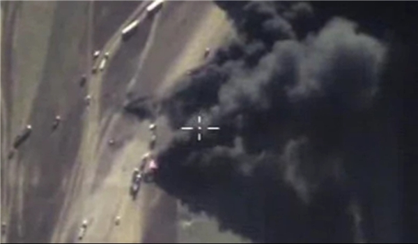 Photo of Syrian Jets Hit ISIL Oil Tanker in Sweida Province