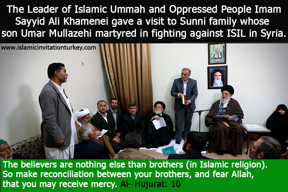 Photo of The Leader of Islamic Ummah and Oppressed People Imam Sayyid Ali Khamenei gave a visit to Sunni family whose son Umar Mullazehi martyred in fighting against ISIL in Syria.