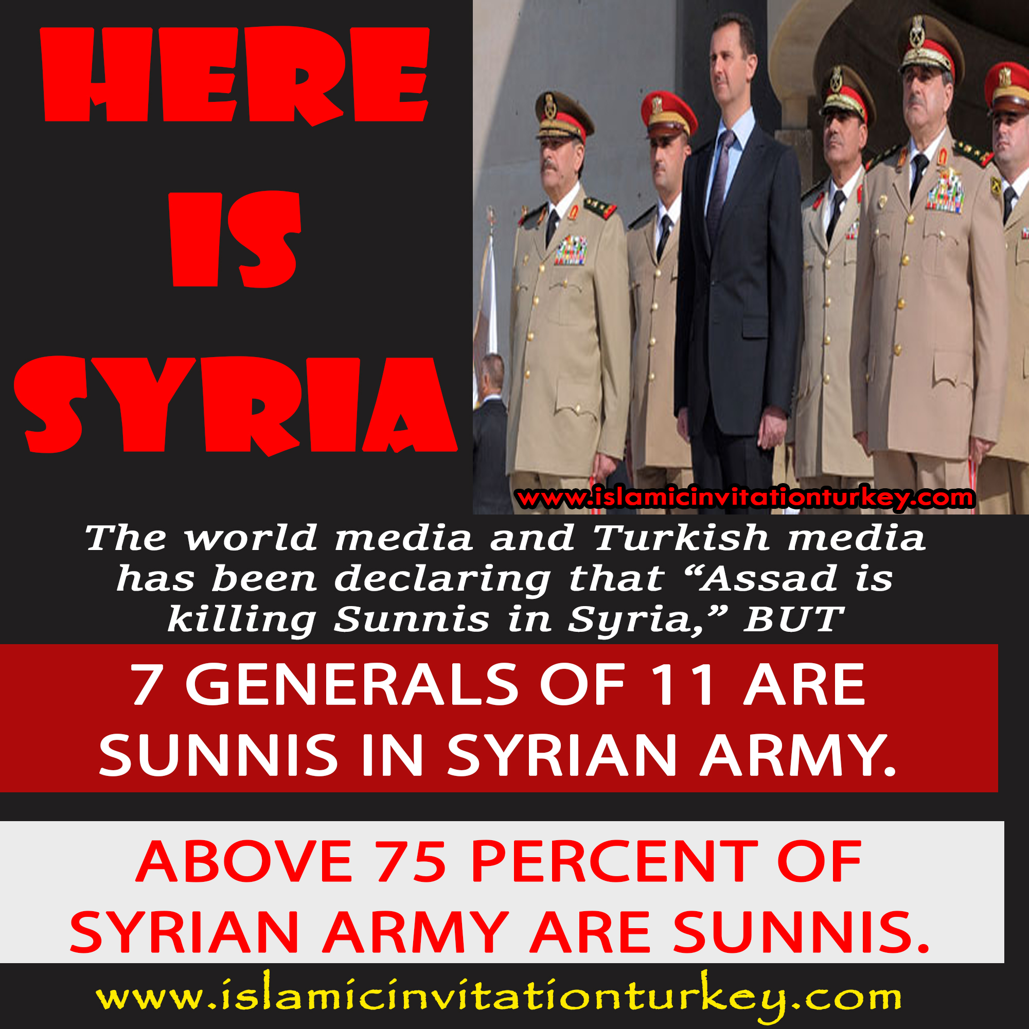 Photo of Is Assad killing Sunnis while 7 of 11 Syrian Generals are Sunnis and above 75 percent of Syrian Army are Sunnis?