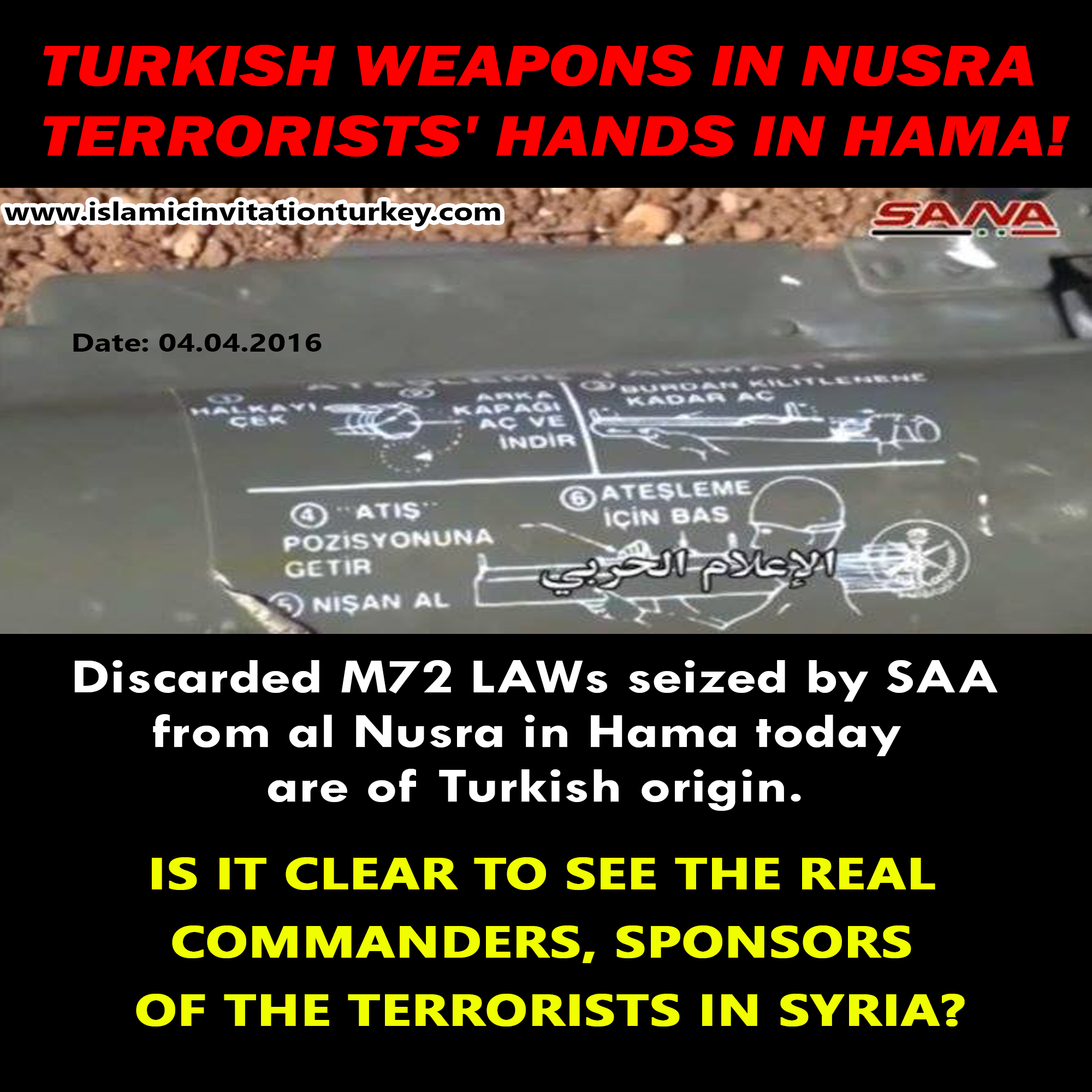 Photo of Syrian Army captured Turkish weapons in hands of Nusra in Hama