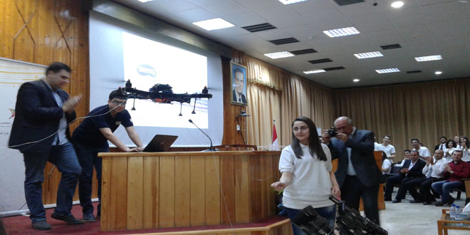 Photo of Drone and robot projects displayed at Research Science Conference in Lattakia
