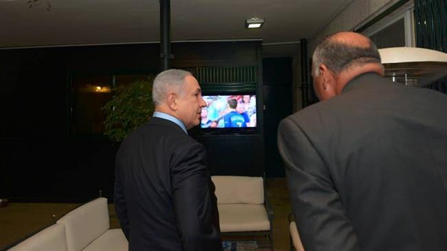 Photo of Inhuman zionist Egyptian FM watched Euro final with Butcher Netanyahu