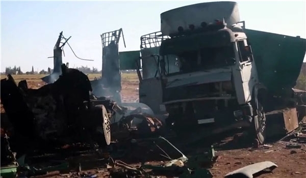 Photo of Long Convoy of Terrorists' Vehicles in Idlib Destroyed in Syrian Air Raids