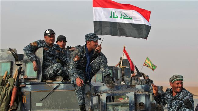 Photo of Iraqi troops preparting for advance toward Mosul airport