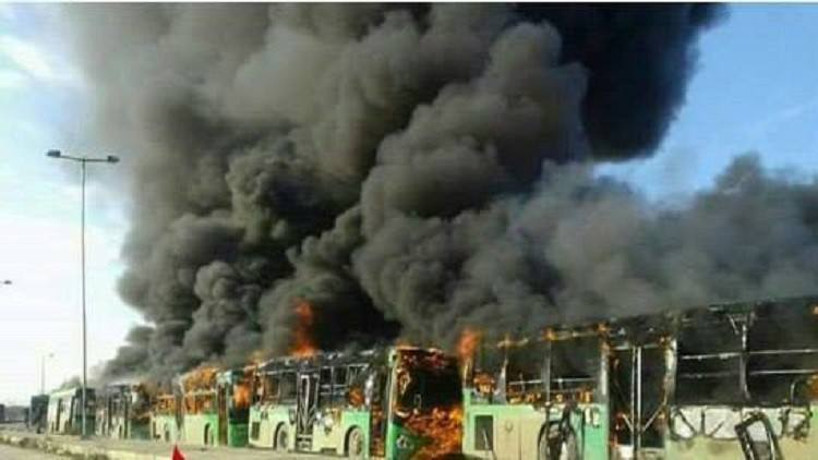 Photo of EXC.VIDEO: Zionist Israel, USA, Turkey, Saudi, Qatar backed terrorists burnt the busses of the civilians of Foua and Kafraya