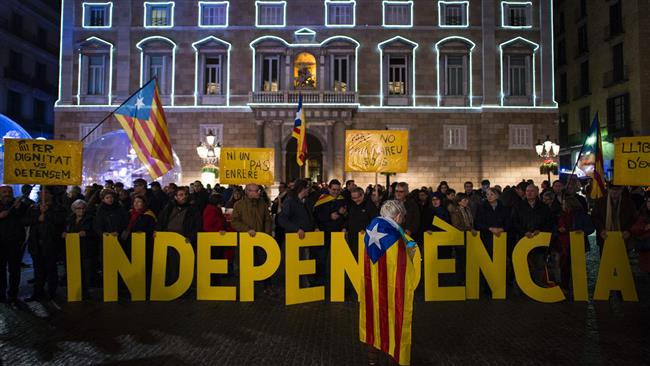 Photo of 100s rally in support of Catalonia's secession from Spain
