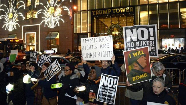 Photo of NYC protesters condemn Trump's views on nuclear weapons