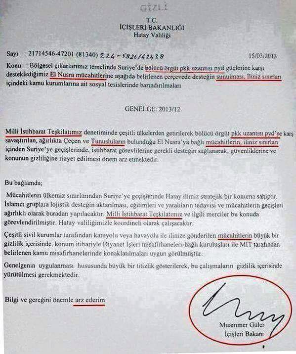 Photo of Turkish media have issued a letter indicating the Interior Ministry to provide assistance to terrorists in Syria