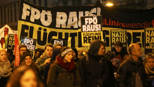 Photo of Austrians protest rightist event, welcome refugees
