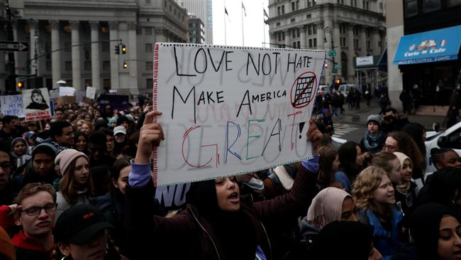 Photo of New York City students walk out of class for Trump protest